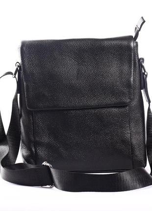 """Мужская кожаная сумка-планшет черная """"фуджио 1"""""""