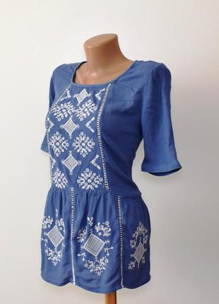 Красивая вышиванка блуза с вышивкой tu вискоза