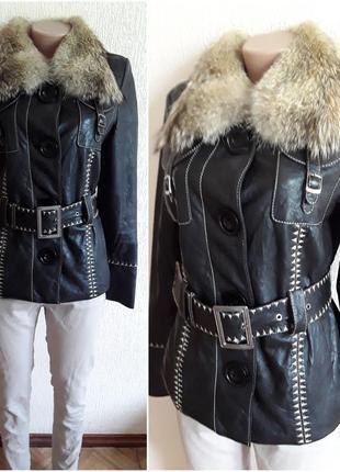 Куртка  с натуральной кожи и мех воротом