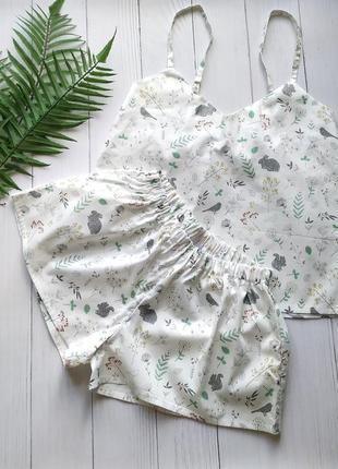 Женская сатиновая пижамка свободного кроя