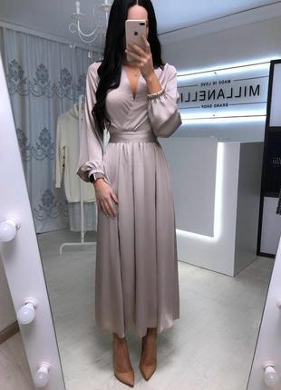 Вечернее платье с разрезом бежевый