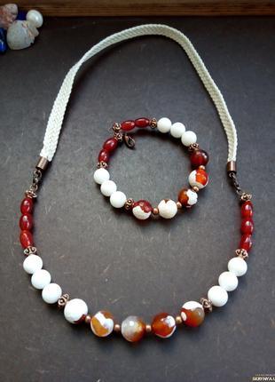 Колье и браслет- Сердолик и агат