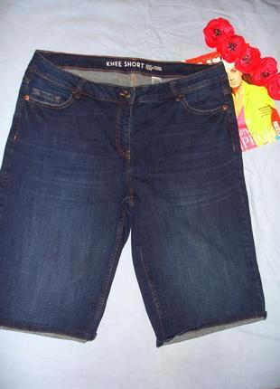 Женские шорты джинсовые размер 54 / 20 next темно-синие средне...