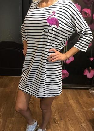 Красивое платье туника в полоску с розовым фламинго турция