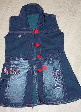 Джинсовое модное летнее платье на девочку от 3до 5лет