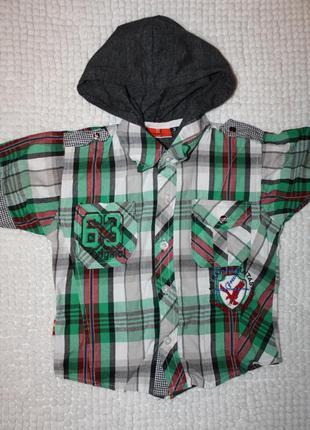 Летняя рубашка с капюшоном на мальчика р-104/110 в отличном со...