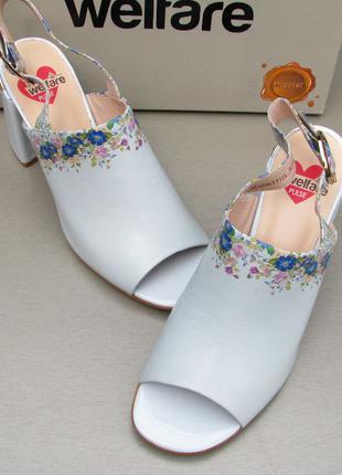 Новые голубые босоножки Welfare 40 размер на каблуке, стелька ...