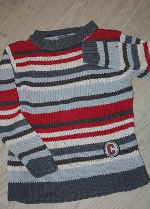 Полосатенький котоновый свитер р-122 состояние для дома,дачи