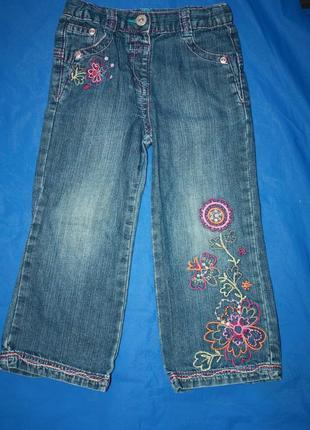 Модные джинсы с рисуком вышивкой  ф.tu на девочку 2/3 года в о...