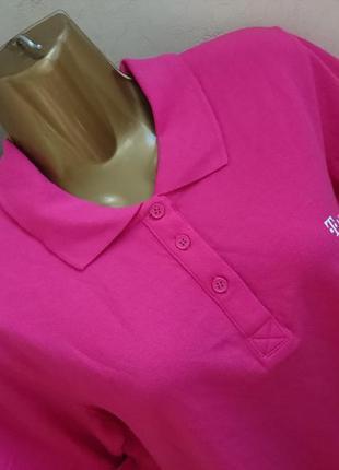 Женская новая футболка поло розовая