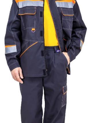 Костюм рабочий с брюками Комфорт (серый/оранжевый)