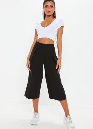 Актуальные прямые широкие брюки кюлоты №370