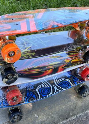 Детский скейт (пенни борд) Penny board, светящиеся колеса, 8 вид