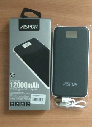 Power Bank Aspor A386 12000mAh, 1A/2.4А Soft Touch