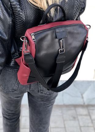 бордовый кожаный сумка рюкзак повседневный городской трансформер