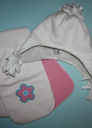 Очаровательный флисовый набор шапка+шарфик для девочки