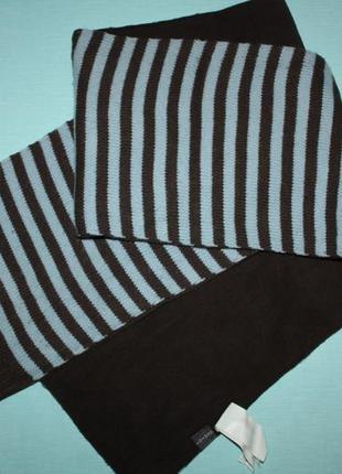 Шикарный фирменный в полоску двойной шарф в отличном состоянии