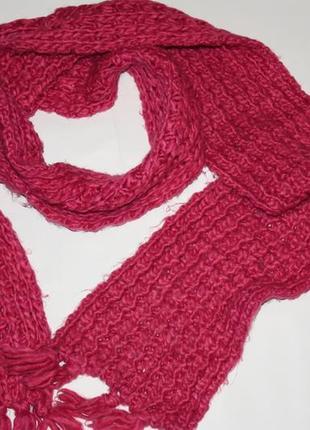 Малиновый вязаный ,мягкий ,теплый шарф в отличном состоянии
