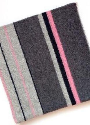 Махровое полотенце 90*50 серый с розовым