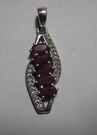 Кулон с индийскими рубинами серебро 925
