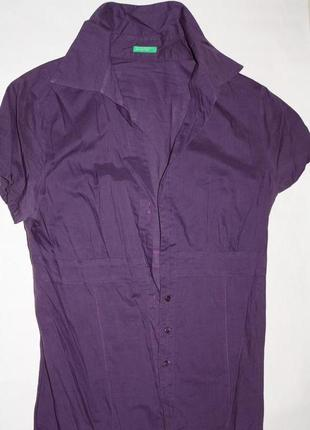 Блузка цвета лаванды с v-образным вырезом ф.benetton р-36/38 в...