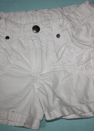 Белые классные ф.h&m шорты дл девочки 2/3лет р-98 в хорошем со...
