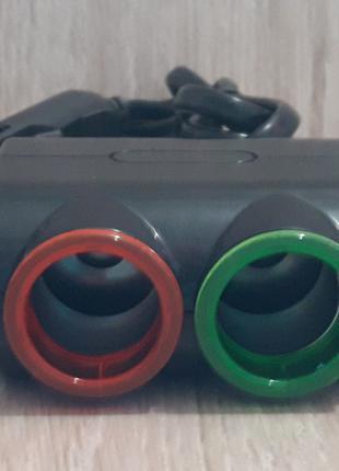 Разветвитель прикуривателя для авто на 2 гнезда с USB