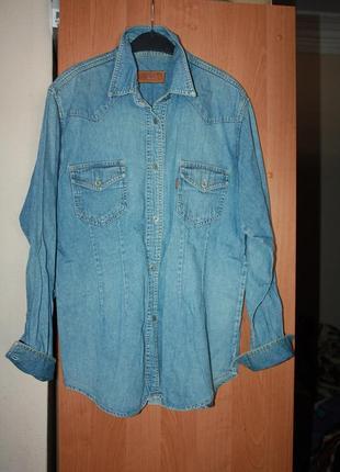Джинсовая рубашка р 38/40 в отличном состоянии