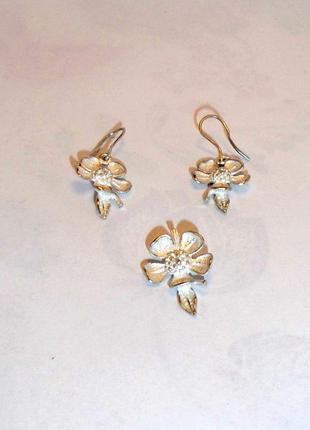 Серебряные серьги и подвеска/цветочки комплект/советское серебро