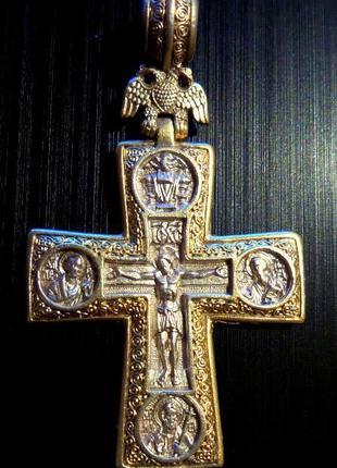 Крест серебряный 925 пробы (Федоровский) с позолотой