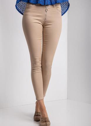 Летние стрейчевые джинсы песочного цвета с высокой посадкой 🔥с...