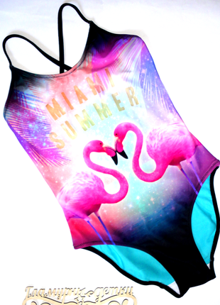 Сдельный купальник h&m 9-10 лет розовый фламинго