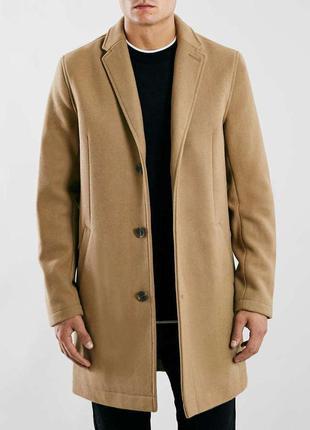 Мужское пальто оверкот topman песочный цвет кашемир