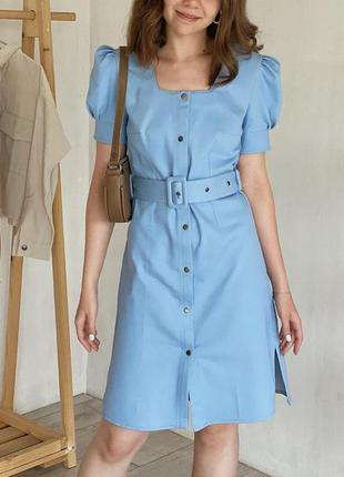 Джинсовое голубое платье с рукавами - фонариками