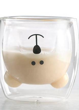 Стакан двойное дно/ чашка двойное стекло Мишка