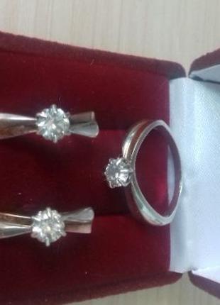 Серьги,кольцо,набор серебро 925 пробы с цирконом