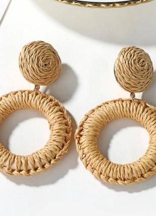 Серьги кольца из ротанга/бохо стиль/этно стиль/новая коллекция...