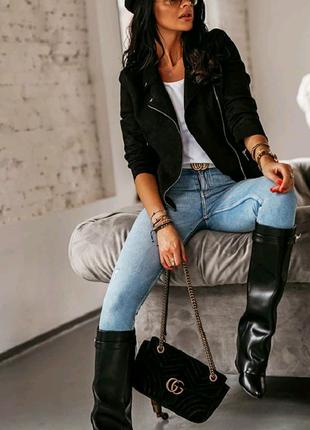 Женская замшевая куртка-косуха  Оч