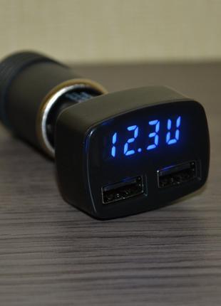 Авто зарядное (тестер) на 2 USB, вольтметр, термометр, амперметр