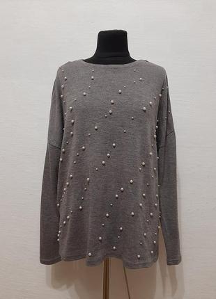 """Стильный модный свитер """" бусинка """" большого размера"""