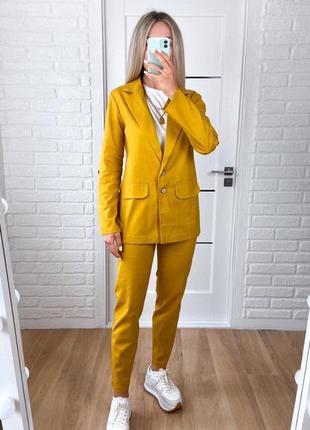 Жіночий лляний брючний костюм двійка штани брюки + піджак жакет