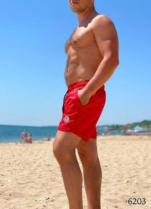 Мужские пляжные короткие шорты плавательные красные