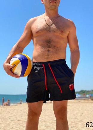 Мужские пляжные короткие шорты плавательные чёрные ferrari
