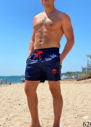 Мужские пляжные короткие шорты плавательные синие ferrari