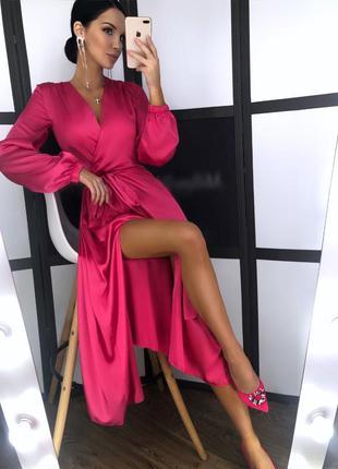 Шелковое длинное платье с разрезом
