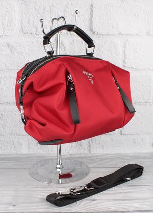 Стильная сумочка prada 903 красная текстильная, расцветки, фор...