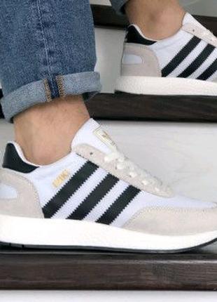 Мужские кроссовки белые с бежевым Adidas Iniki 9283