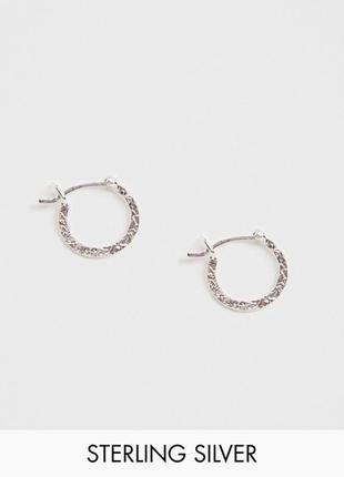🍋🌺 серебряные миниатюрные серьги-колечки в кованном стиле от asos
