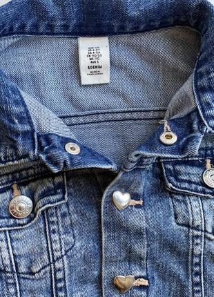 Куртка джинсовая,куртка на кнопках сердечки 4/5 denimco