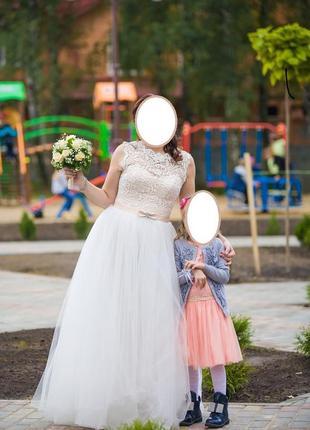 Свадебное платье цвет беж